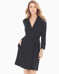 Embraceable Cool Nights Short Robe Black
