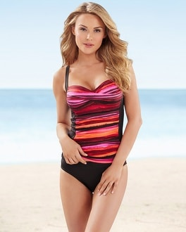 La Blanca Painterly Stripe Sweetheart Tankini Top
