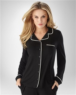 Embraceable Cool Nights Black Piped PJ Top