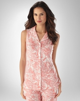 Embraceable Cool Nights Sleeveless Fantasy Paisley Carnation PJ Top