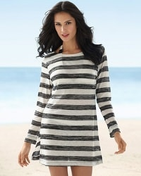 La Blanca Retro Stripe Boat Neck Cover Up