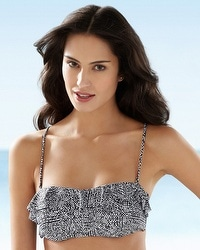 Captiva Reflected Water Ruffle Bandeau Bikini Swim Top
