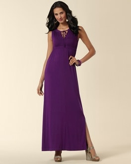 Majestic Plum Keyhole Tie Dress
