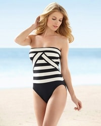 La Blanca Retro Stripe Bandeau One-Piece Swimsuit