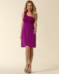 One Shoulder Chiffon Applique Dress