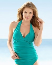 La Blanca Shirr And Now Halter Goddess Tankini