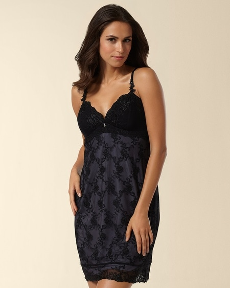 Embroidered Mesh Chemise