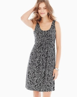 Sleeveless Wrapped Waist Short Dress Coastal Lace Black