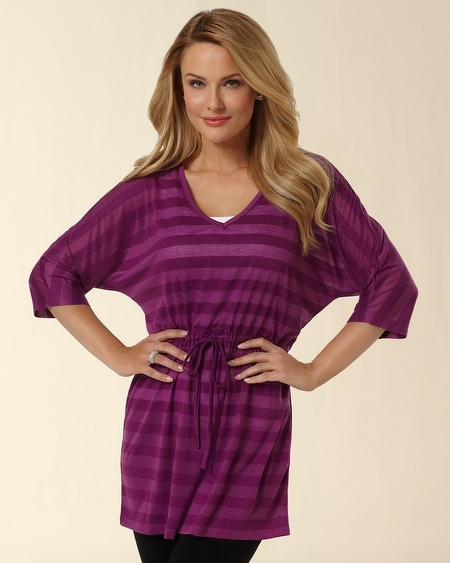 Deep V-Neck Orchid Bloom Burnout Tunic