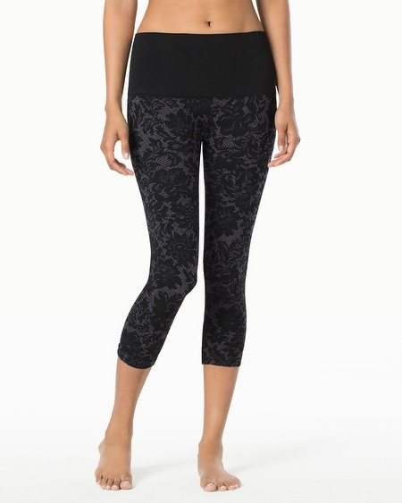 Slimming Crop Legging Striation Black