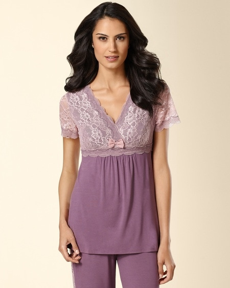 Endearing Short Sleeve Sleep Top Amethyst