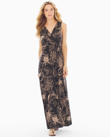 Shirred Bodice Maxi Dress Black