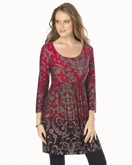 Soft Jersey Empire Waist 3/4 Sleeve Tunic Wallpaper Ombre