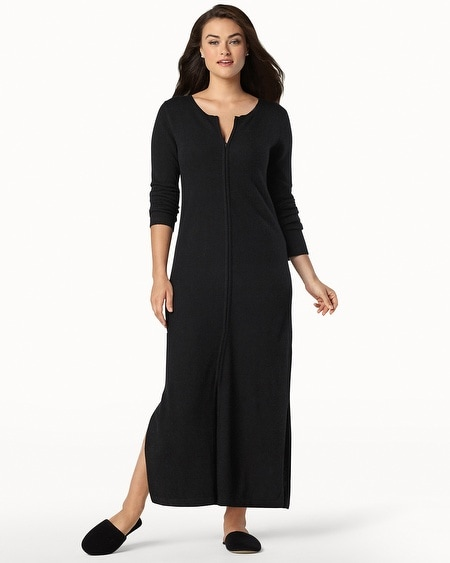 Long Zip Cashmere Robe Black