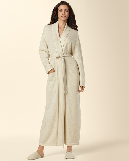 Long Gold Shimmer Cashmere Robe