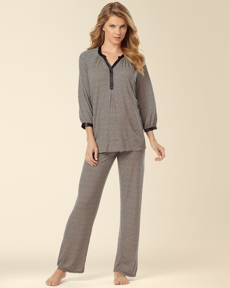 Keep Me Close Pajama Set Midnight Stripe Black Size 1X-3X