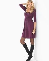 3/4 Sleeve Wrapped Waist Short Dress Merlot
