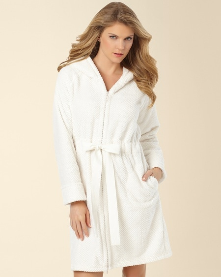 Hooded Short Zip Robe Ivory