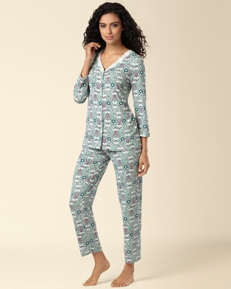 Cardigan Pajama Set Era Print