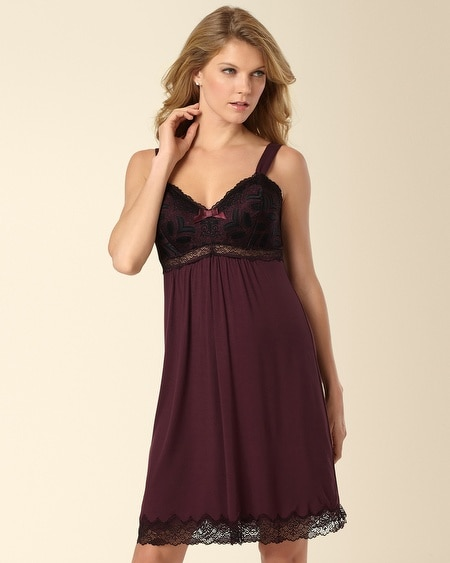 Merlot Deco Edge Lace Sleep Chemise