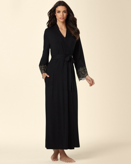 Scroll Lace Long Robe Black