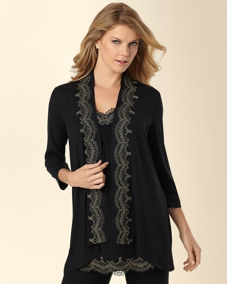 Scroll Lace Pajama Wrap Black/Gold