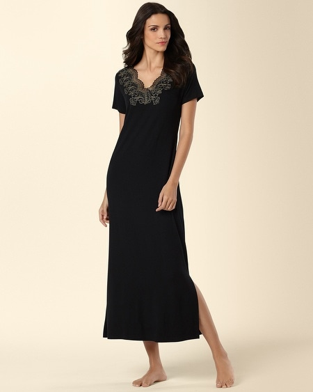 Scroll Lace Long Sleepshirt Black