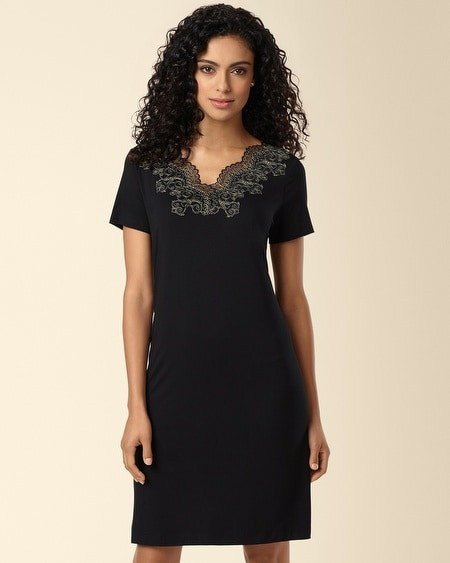 Scroll Lace Sleepshirt Black/Gold
