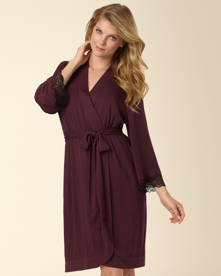 Merlot Deco Edge Lace Short Robe