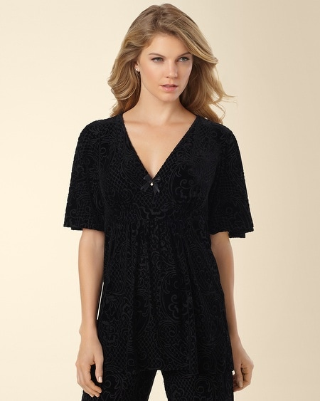Devore Velvet  Short Sleeve Sleep Top