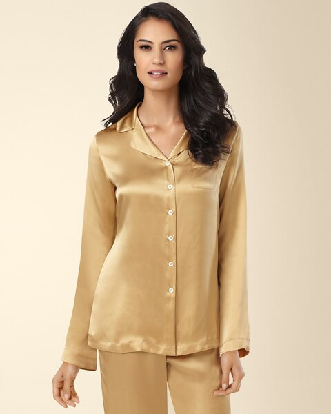 0691f2fac8 Return to thumbnail image selection Silk Pajama Top Gold video preview  image
