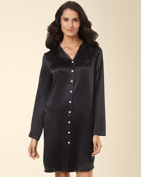 Silk Notch Collar Sleepshirt Black