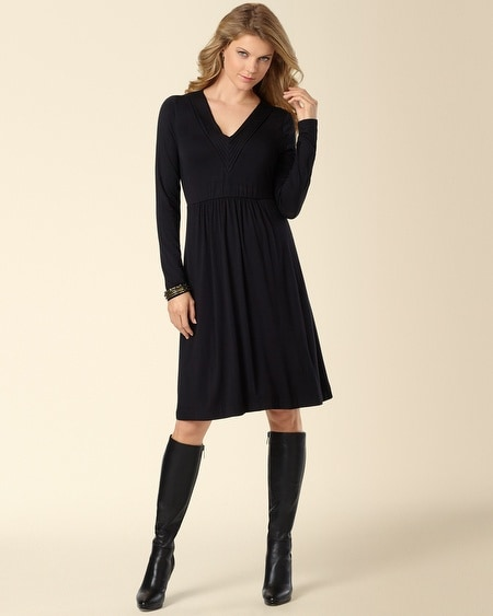 Pintucked V-Neck Dress