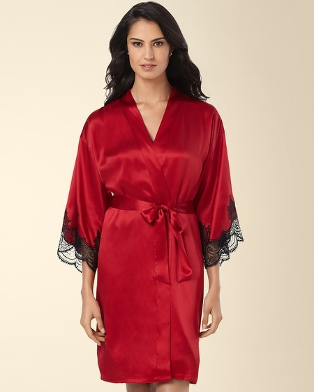 Silk Short Robe Ruby