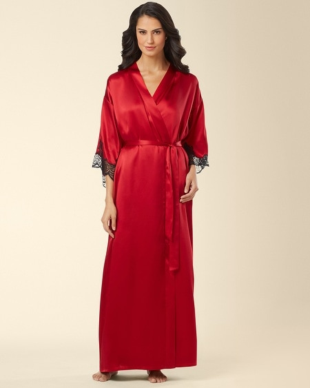Silk Long Robe Ruby