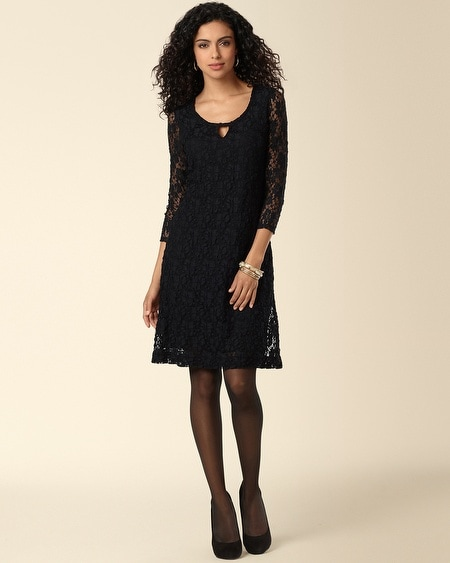 Keyhole Detail Lace Dress Black Lace