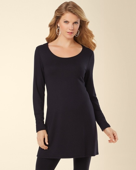 Divine Terry Scoop Neck Tunic Black