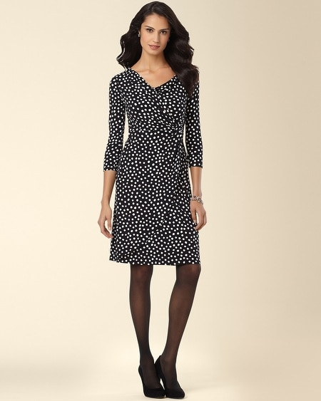 Side Twist Dress Dot Print