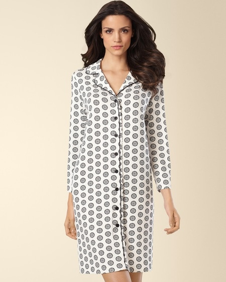 Button Front Sleepshirt Empire Medallion