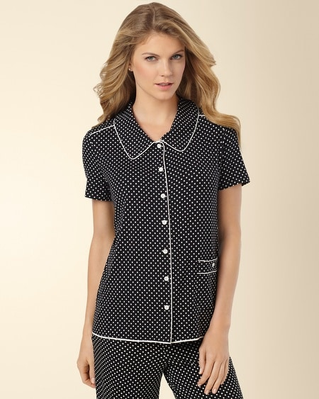 Short Sleeve Pajama Top Mod Dot Black