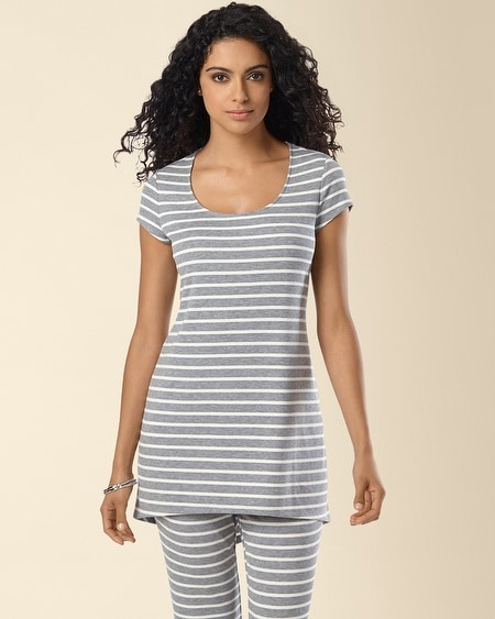 Ribbed Jersey Doman Short Sleeve Tunic