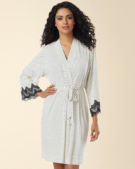 Geo Scallop Lace Short Robe Mod Dot Ivory