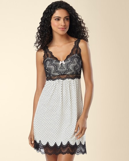 Geo Scallop Lace Sleep Chemise Mod Dot Ivory