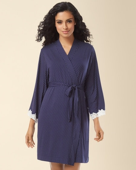 Lace Short Robe Little Dot Navy
