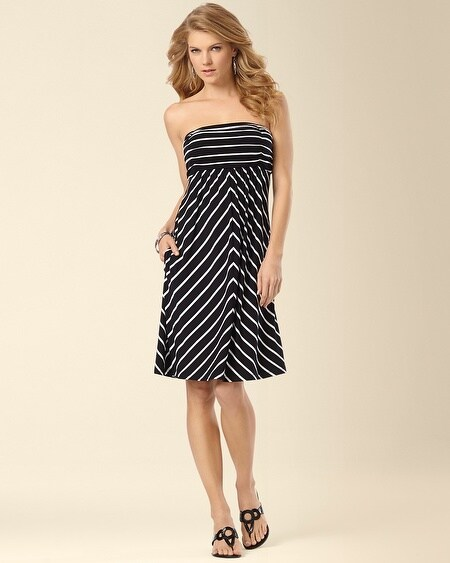 Shirred Stripe Bandeau Dress
