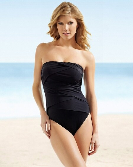 Miraclesuit Modern Black Muse One Piece Bandeau Swimsuit