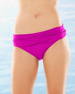 La Blanca Shirred Hipster Swim Bottom-Passion Fruit