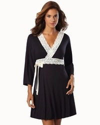 Belabumbum Nursing Robe With Contrast Lace Black Pearl
