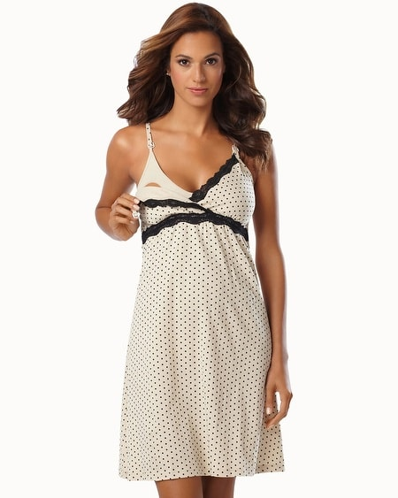 Belabumbum Cotton Nursing Sleep Chemise Khaki Dot