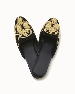 SAACHI Velvet 1 inch Slide Black/Gold